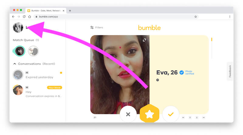 Profile on Bumble account