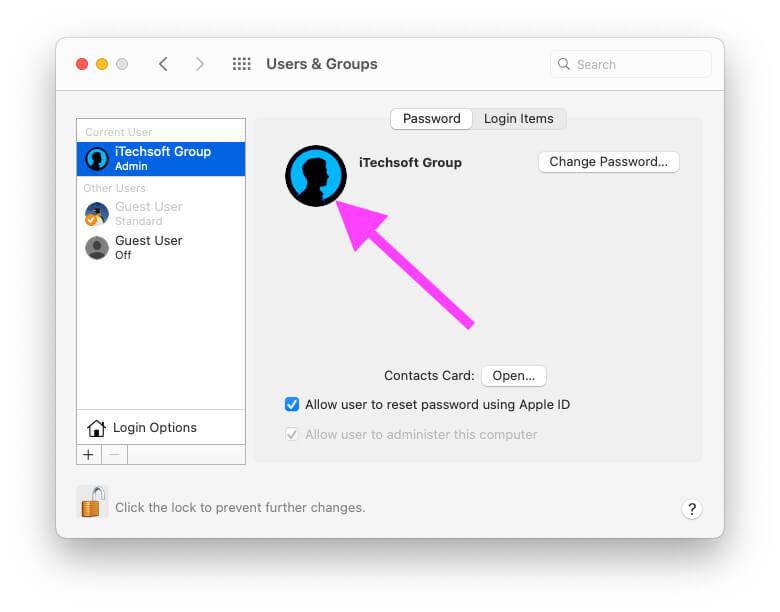 Изображение профиля изменено при входе в систему Mac