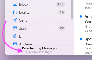 Повторная загрузка почты после восстановления почты на Mac