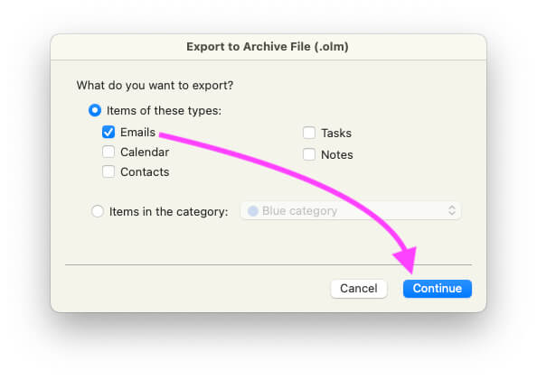 Select Emails for Backup on Mac