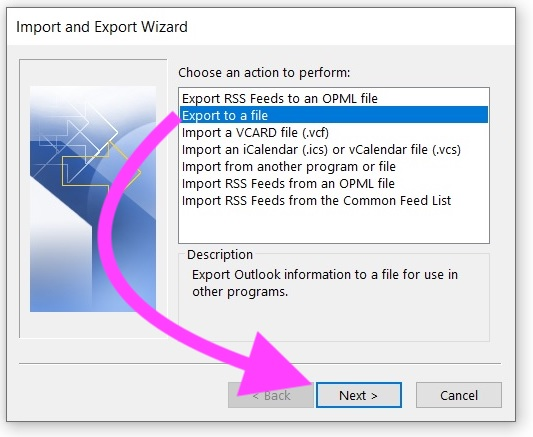 Select Export Outlook Data in PST