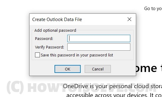 Select Password for Backup or Export Microsoft Outlook App