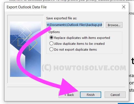 Select Target Location for Microsoft Outlook Mail app