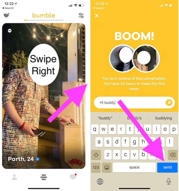 Swipe right to start conversation from bumble filter result