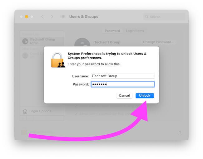 Разблокировать пользователей и группу на Mac