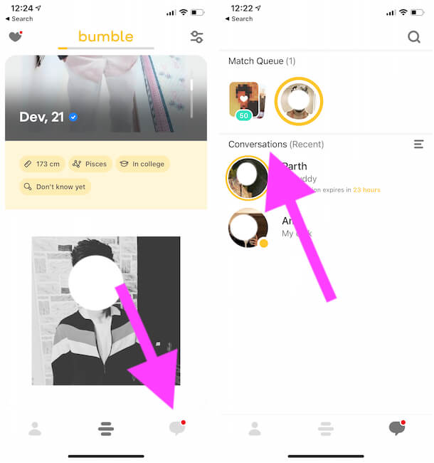 View all the Message and Chat Conversation on Bumble app
