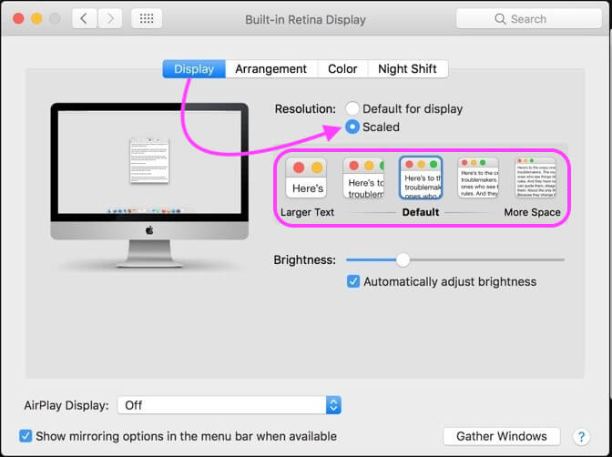 Change font size on mac using Change Resolution