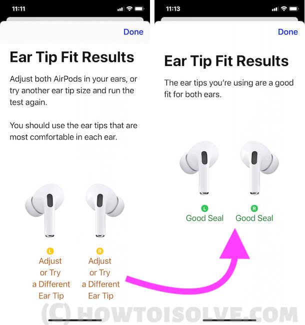 Смените ушной вкладыш и проверьте на iphone