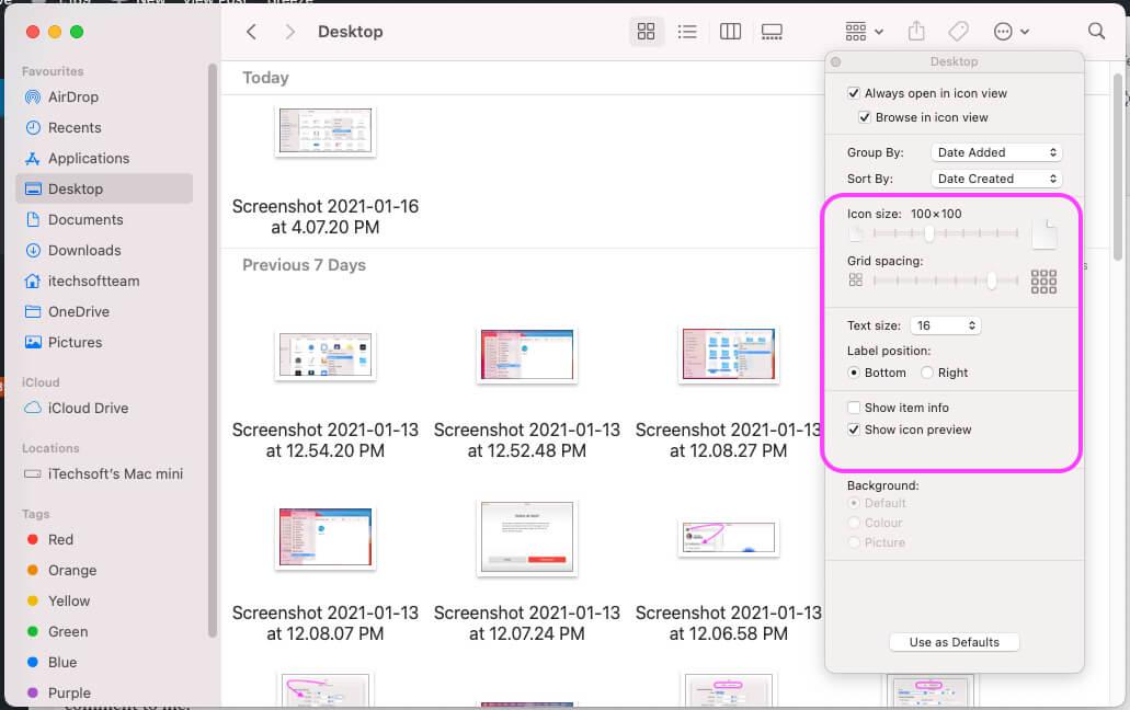Decrease or increase font size in Mac Finder