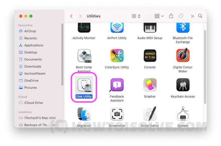 Disk Utility in Utility folder on Mac