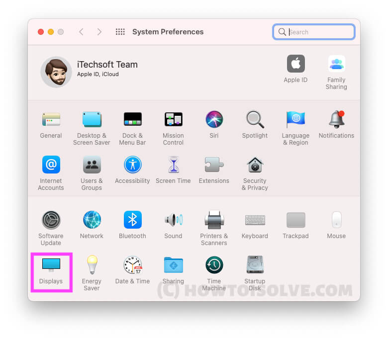 Displays Settings under System Preferences