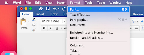 Font settings for word on Mac