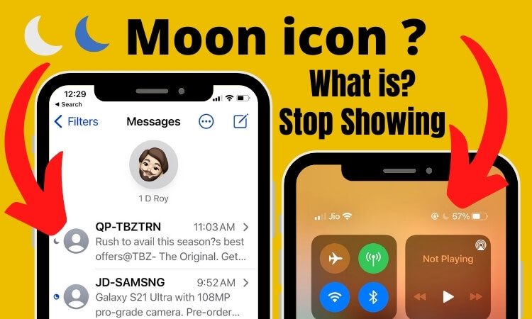 Half moon icon or Crescent moon icon on iPhone