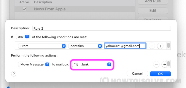 Move black list email address in junk folder