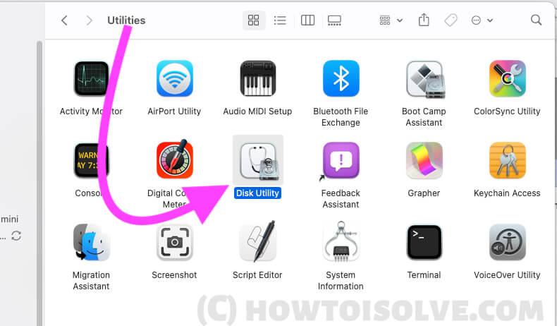 Open Disk Utilities on Mac
