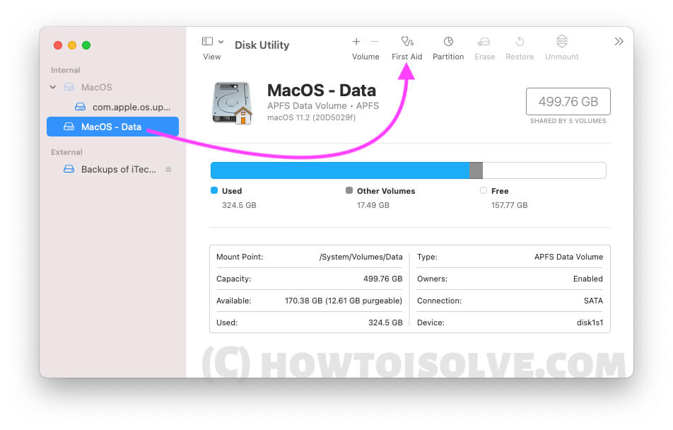 Repair Drive on Disk Utility on Mac