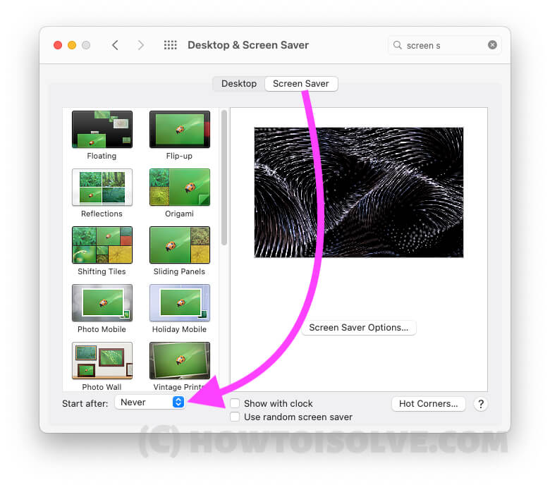 Turn off Screen Saver to Never on Mac and MacBook