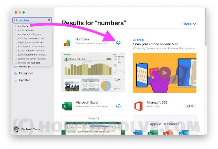 Обновите или переустановите Numbers на Mac