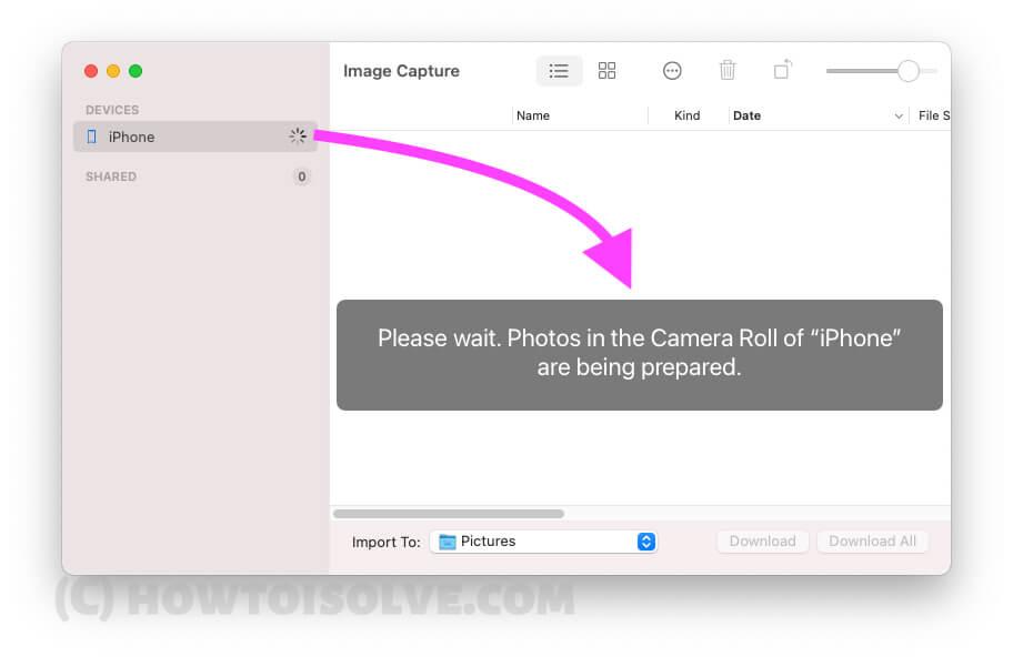 Подождите, пока не увидите ваши медиа-файлы в инструменте захвата изображений