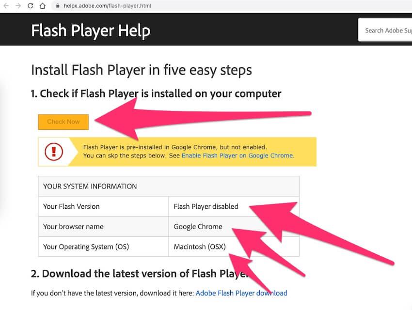 Проверьте, установлен ли Flash Player в браузере