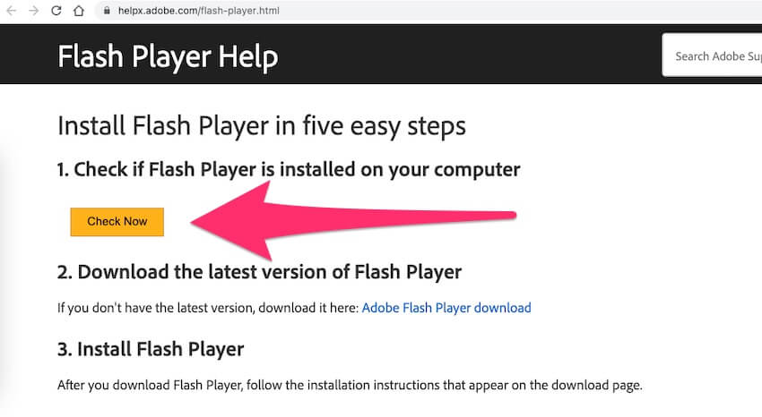 Check Flash Player on Mac Browser