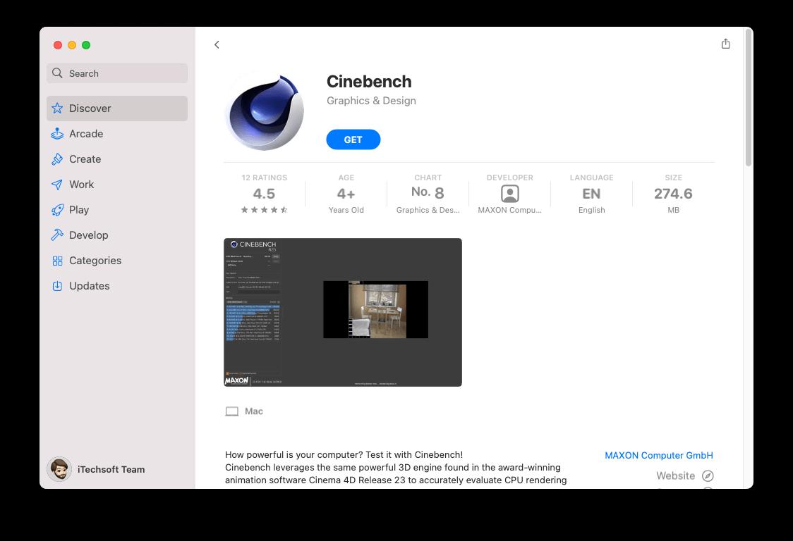 Cinebench to use for GPU performance on Mac