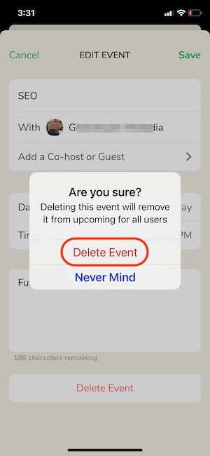 Delete Clubhouse Event on Mac