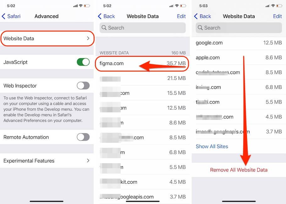 Delete Website Data on Safari iPhone and iPad