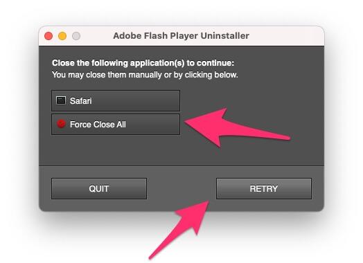 Принудительно закрыть открытый браузер и удалить Flash Player с Mac