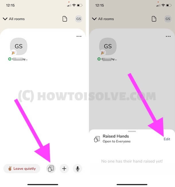 Hand Raise Settings for Moderator or Room Creator on Clubhouse App phone