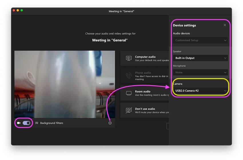 Параметры камеры Microsoft Team и включить камеру в приложении