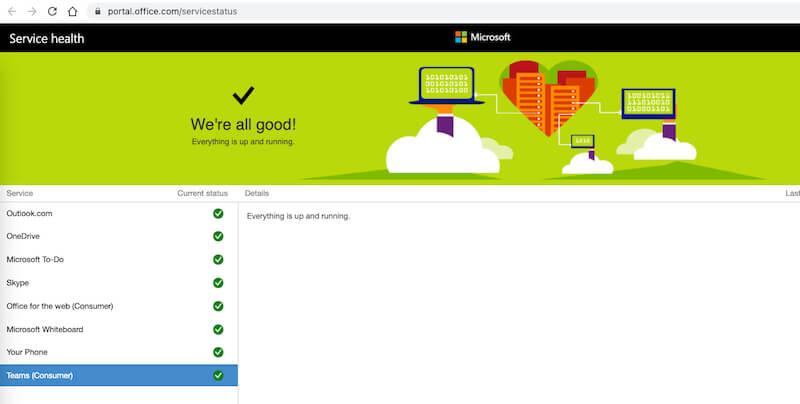 Статус системы Microsoft Team онлайн