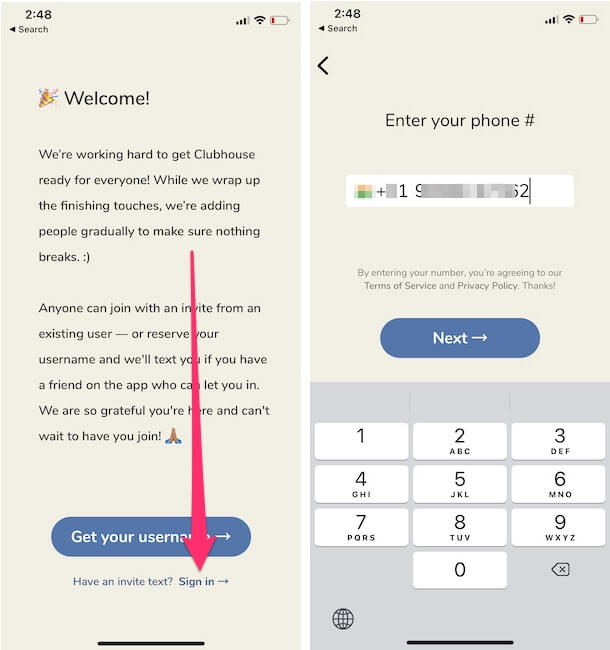 Войти в приложение Clubhouse на iPhone