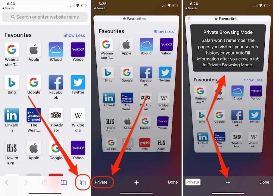 Turn on Private Browsing on iPhone Safari