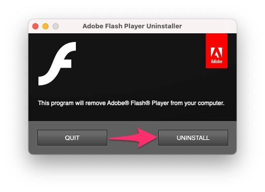 Удалите Adobe Flash Player из браузера на Mac