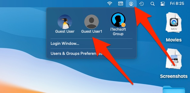 Use Fast user Switching on Mac from top Mac Menu