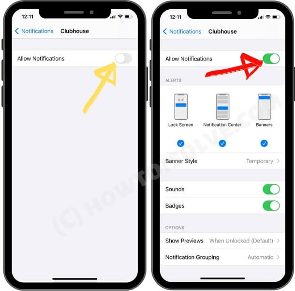 how to enable clubhouse audio chat app notification settings