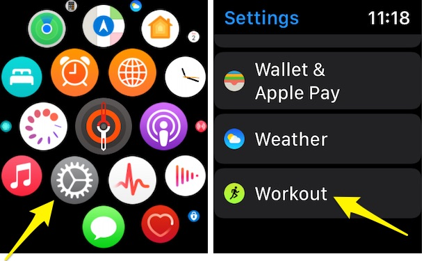 Apple Watch Work out settings