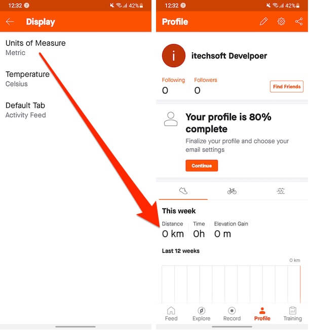 Distance of Unit Changed on Strava App