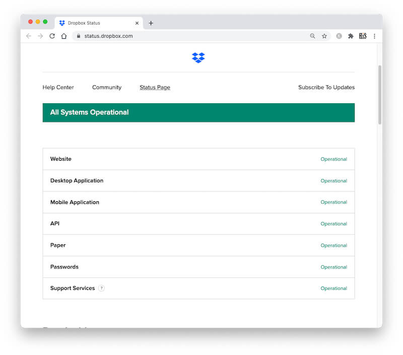 Dropbox System Status or Server Status check online
