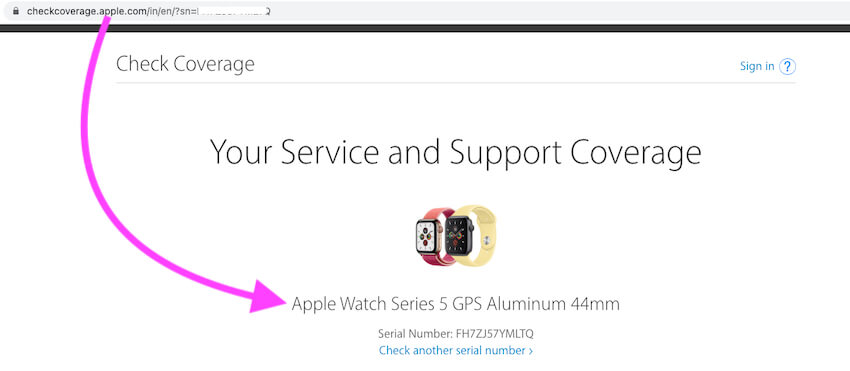 Get apple watch model and series number online