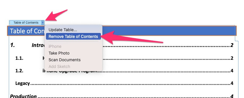 Remove Table of contents in word