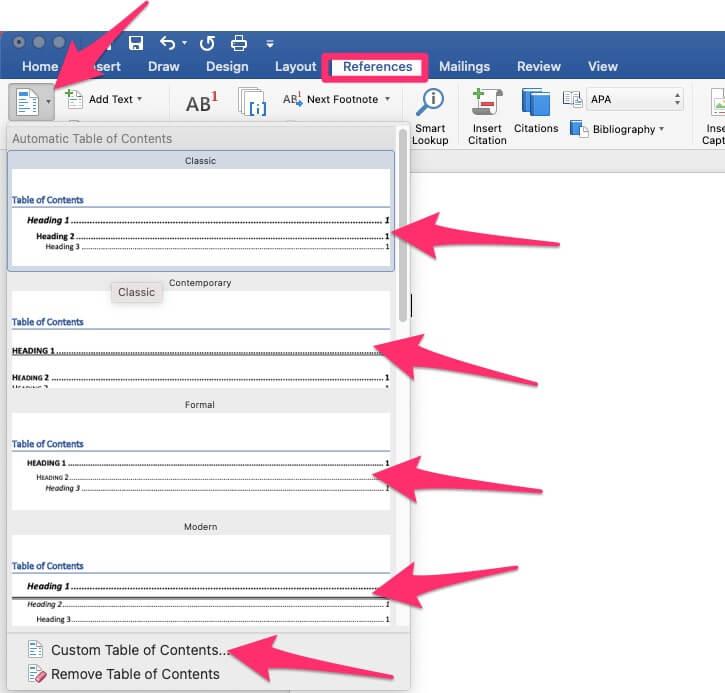 Выберите макет таблицы содержимого в Office Word