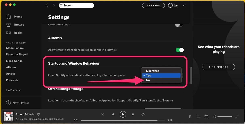 Установите Отключить автоматическое открытие приложения Spotify на Mac
