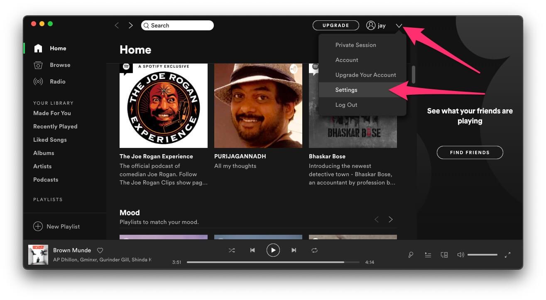 Настройки приложения Spotify на Mac и Windows