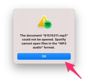 Spotify не может открыть mp3-файл на Mac