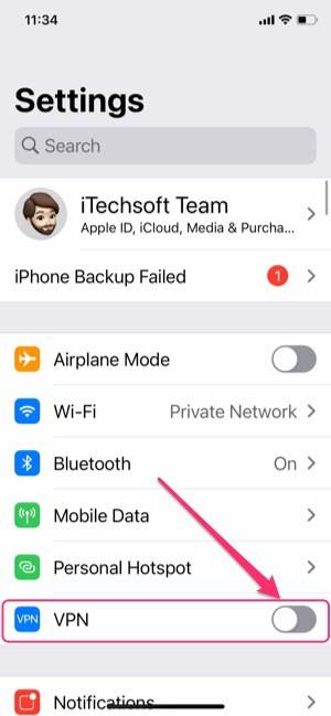 Turn off VPN on iPhone