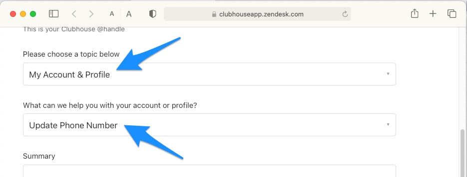 Update Phone Number Request in Clubhouse social app