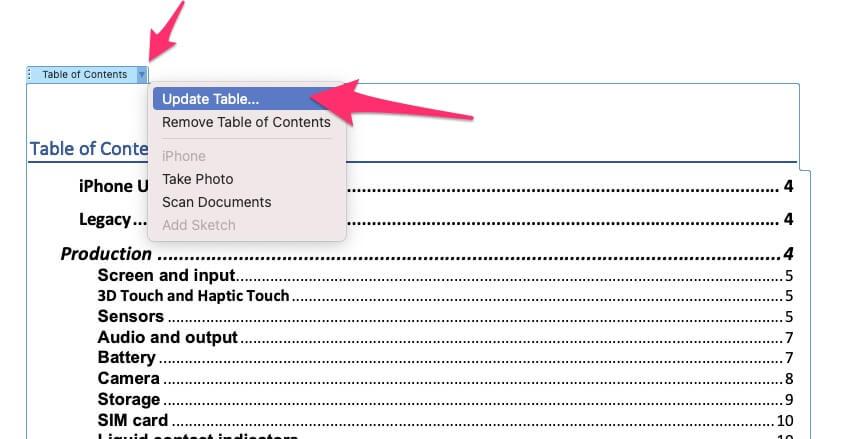 Обновить таблицу для изменения изменений в оглавлении в Office Word